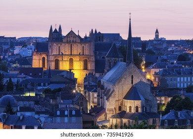 Panorama of Poitiers with Cathedral of Saint Peter at sunset. Poitiers, Nouvelle-Aquitaine, France.