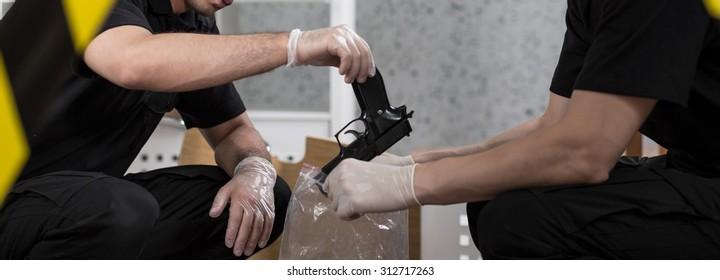 Panorama of policeman putting gun into evidence bag