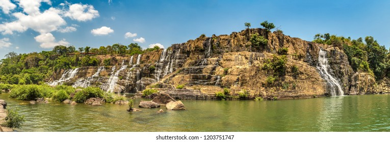 Panorama of Pongour Waterfall near Dalat city, Vietnam in a summer day
