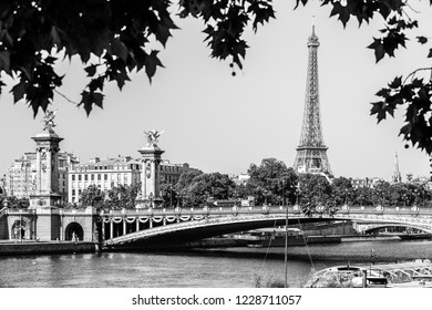 Panorama of the Pont Alexandre III bridge over the River Seine and the Eiffel Tower in the summer morning. Bridge decorated with ornate Art Nouveau lamps and sculptures. Paris, France. Black & white