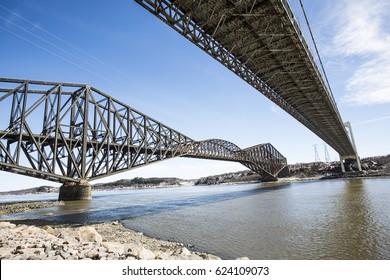 "A panorama of the ""Pont de Quebec"" in spring season"