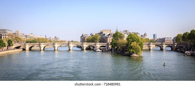 Panorama of Pont Neuf Bridge, Paris ,France