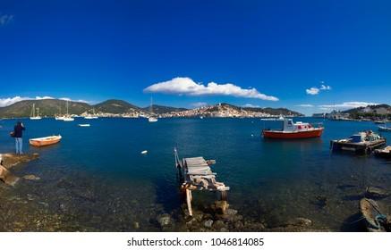 Panorama of Poros island, Greece