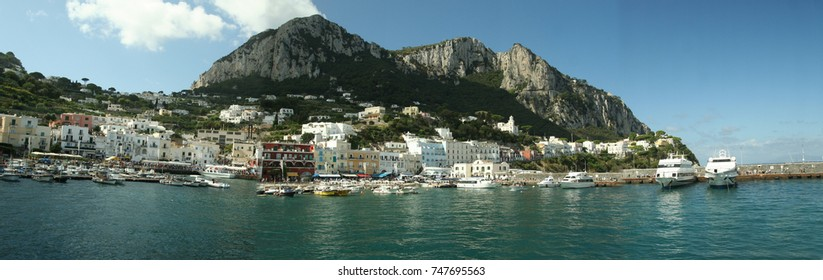Panorama of the port in Capri, Italy