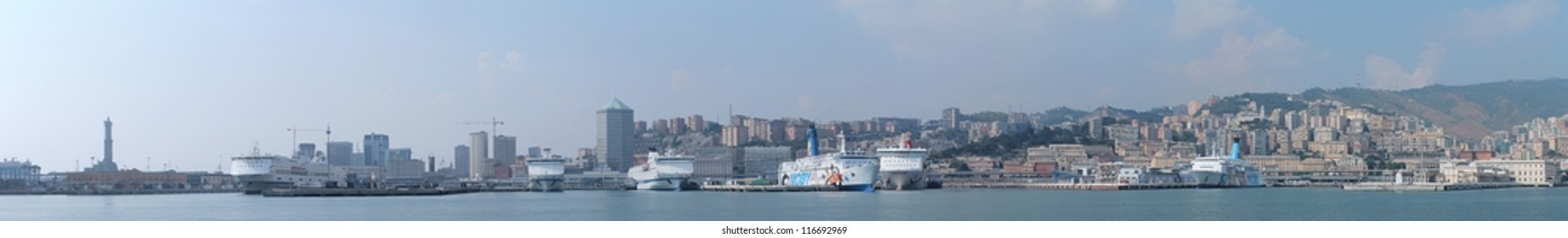 Panorama of the port of Genoa, with ferries docked. This photo is made attaching together various photos