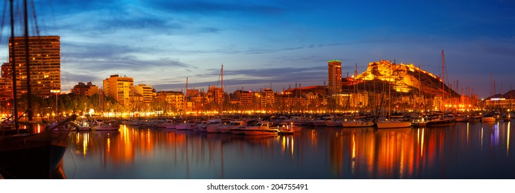 Panorama of port in night. Alicante, Spain