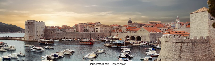 Panorama  of the port of the old city of  Dubrovnik, Croatia