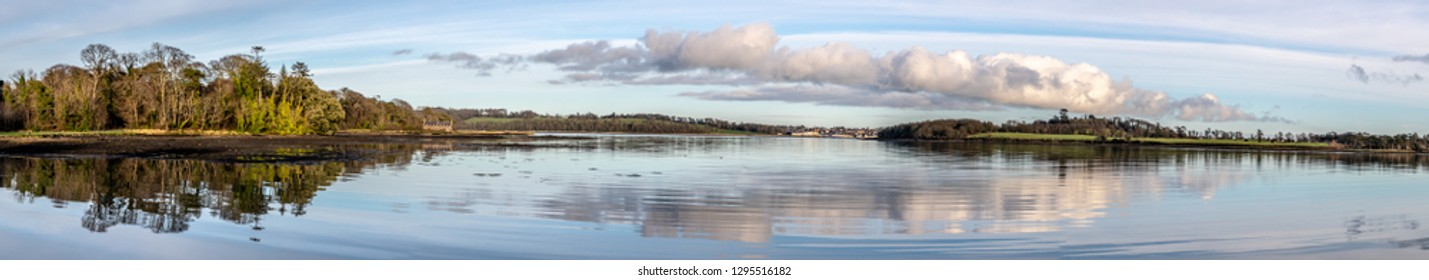 Panorama of Portaferry village and forest in Strangford lough at sunset, Northern Ireland, UK