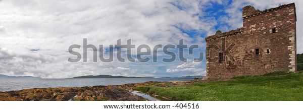 A panorama of Portencross Castle, Ayrshire, Scotland