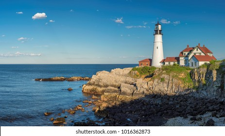Panorama of Portland Lighthouse in New England, Maine, USA.  One Of The Most Iconic And Beautiful Lighthouses.