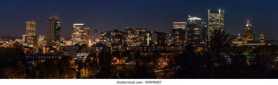 Panorama of Portland, Oregon skyline at night
