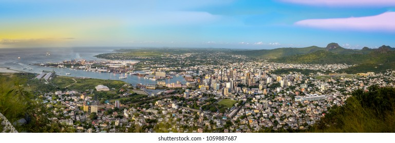 Panorama of Port-Louis, capital of Mauritius at sunset