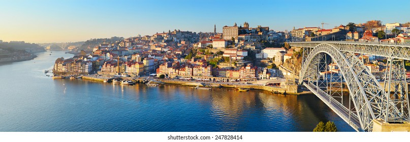 Panorama of Porto with famous Dom Luis bridge. Portugal