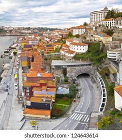 Panorama of Porto, Portugal. Evening time.
