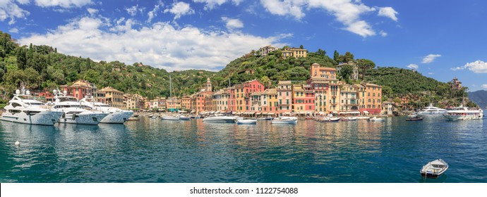 Panorama of Portofino harbor