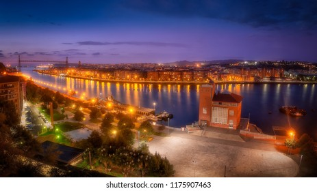 Panorama of Portugalete and Getxo with Hanging Bridge