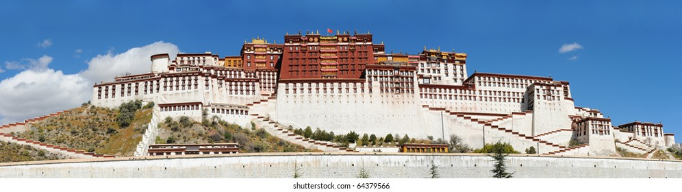 Panorama of Potala palace in Lhasa, Tibet