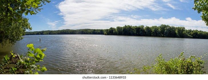 Panorama of Potomac River in Great Falls Park on a sunny day in summer in Virginia