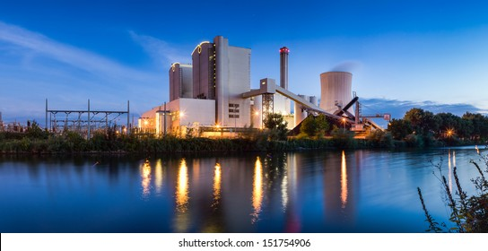 Panorama of Power Plant, Stoeken by Hannover,Germany. at Evening