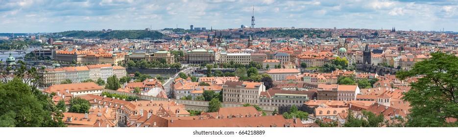 Panorama of Prague city, Czech republic