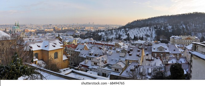 Panorama of Prague during the winter time, Czech Republic.