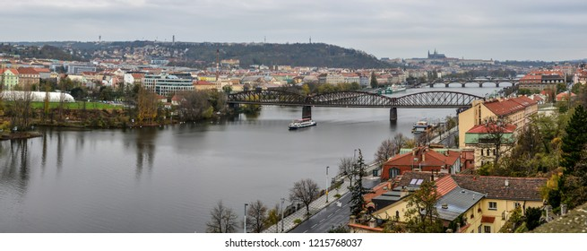 Panorama of Prague from the hill of Vysehrad. A view from above of the Czech capital.