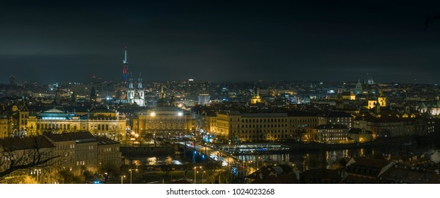 Panorama of Prague in Night