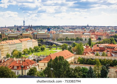 Panorama of Prague old town, Czech Republic