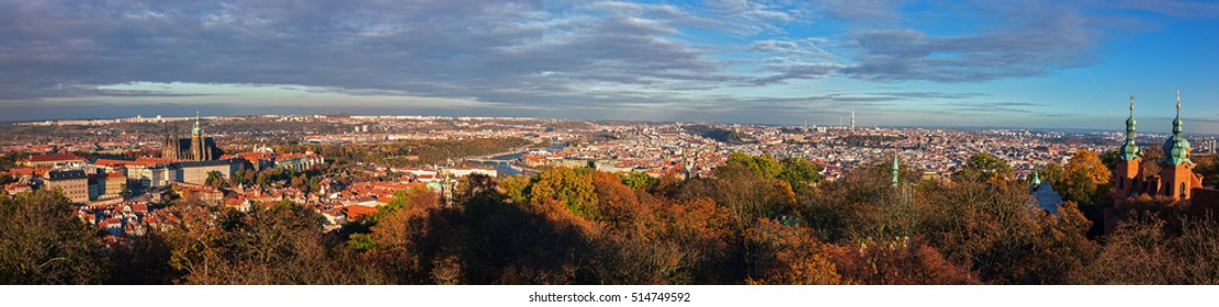 Panorama of Prague from the Petrin hill. Autumn. Czech Republic. Prague.
