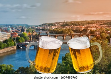 Panorama of Prague with two glasses of beer.