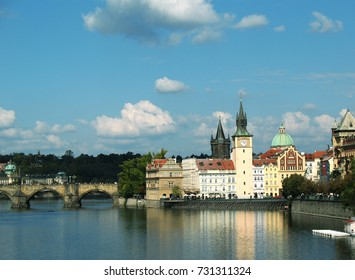 panorama of Prague, view of the old town, rivers and bridge
