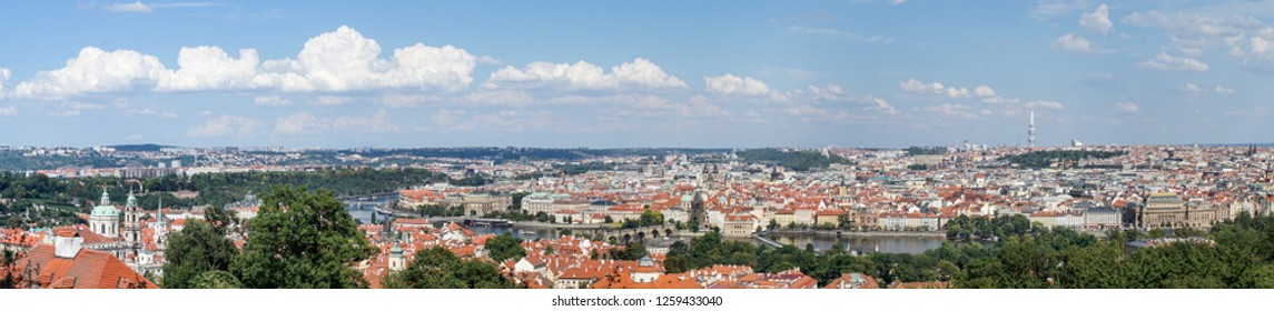 Panorama of Prague with the Vltava, the bridges and the old town