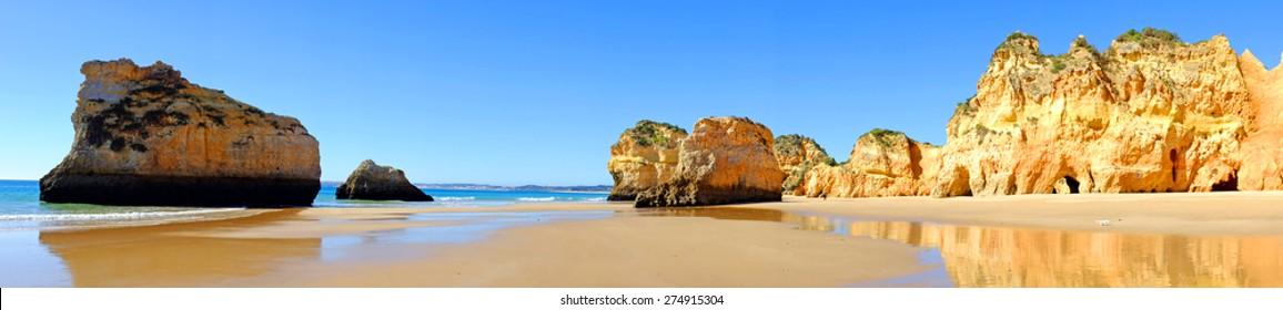 Panorama from praia Tres Irmaos in Alvor Portugal