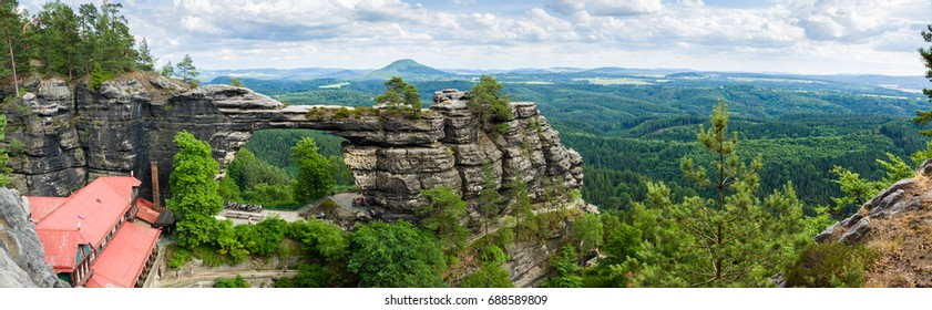 Panorama of Pravcicka brana in Saxon Switzerland national park in Czech Republic