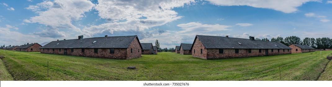 A panorama of the prisoner barracks in Auschwitz II - Birkenau.