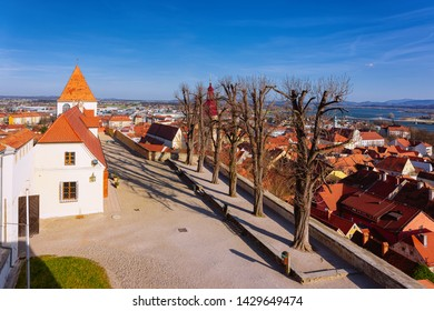 Panorama in Ptuj Castle on Old town in Slovenia. Architecture in Slovenija. Travel