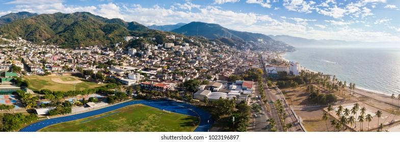 Panorama of Puerto Vallarta drone view