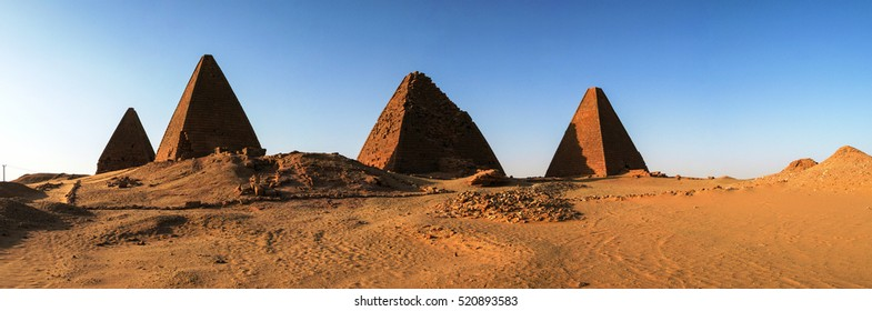 Panorama of Pyramids near Jebel Barkal mountain, Karima Napata Nubia, Sudan