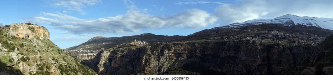 Panorama of Quadisha valley in Lebanon