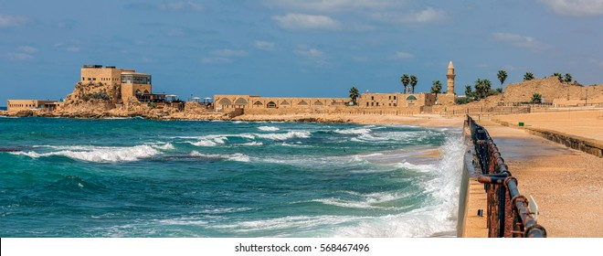 A panorama of quay in the ancient city of Caesarea, Israel