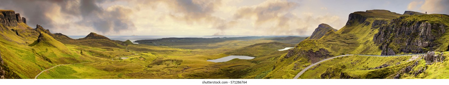 Panorama of the Quiraing mountain range, Ilse of Skye, Inner Hebrides, Scotland.