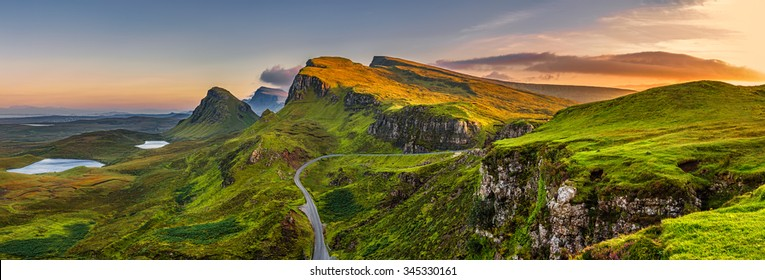 Panorama of  Quiraing mountains sunset at Isle of Skye, Scottish highlands, United Kingdom