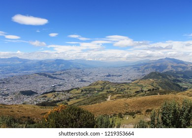 Panorama of Quito (Ecuador) in Sunny weather. View of Quito from the observation deck Teleferico Quito