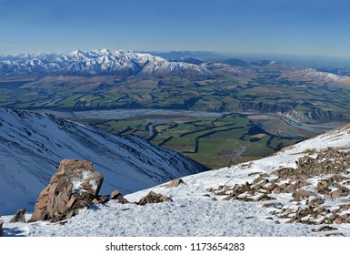 Panorama of the Rakaia River Valley from the Top of Mount Hutt Ski Field, Canterbury, New Zealand.