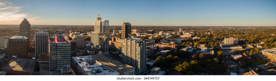 A panorama of the Raleigh, NC skyline.