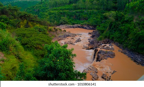 Panorama of rapids and waterfall at Awash river, Ethiopia
