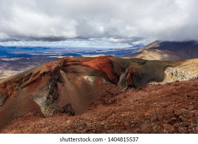panorama of a Red Crater on the top of Tongariro Volcano, Tongariro Crossing National Park - New Zealand
