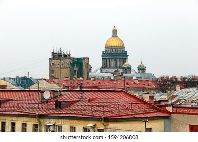 Panorama of the red roofs of St. Petersburg and St. Isaac's Cath