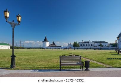 The panorama of the Red square before Tobolsk Kremlin. Tobolsk. Tyumen Oblast. Russia