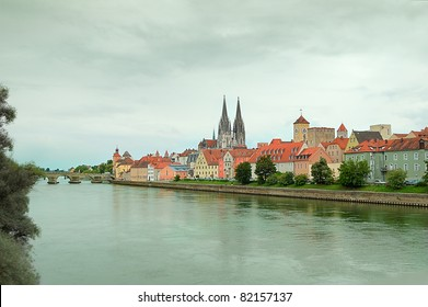Panorama of Regensburg(UNESCO world heritage site) in a raining day with Danube river, Germany